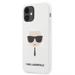 Karl Lagerfeld iPhone 12 mini Case / Hülle / Cover Silikon Head Weiß KLHCP12SSLKHWH