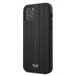 Mini iPhone 12 Pro Max Echtleder Hülle / Case / Cover Stamp Stripe Schwarz MIHCP12LPUHLYE