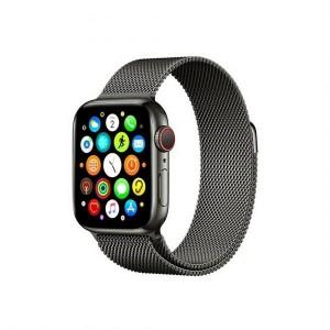 Mercury Armband Apple Watch 4 / 5 / 6 / SE 44mm Magnet Edelstahl gebürstet schwarz