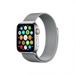 Mercury Armband Apple Watch 4 / 5 / 6 / SE 44mm Magnet Edelstahl gebürstet silber