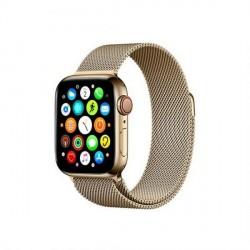 Mercury Armband Apple Watch 4 / 5 / 6 / SE 44mm Magnet Edelstahl gebürstet gold