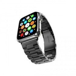 Mercury Armband Apple Watch 4 / 5 / 6 / SE 44mm Edelstahl gebürstet schwarz