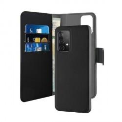 Puro Samsung A52 Wallet Book Tasche + Hülle 2in1 Schwarz