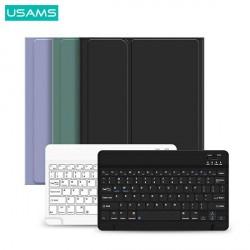 """USAMS 2in1 iPad Pro 10,2"""" Hülle 360° Schutz Grau + BT Tastatur Weiß"""