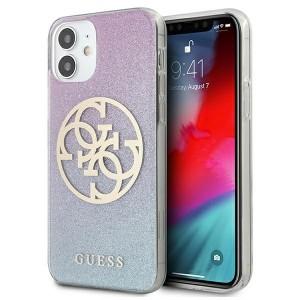 Guess iPhone 12 mini Hülle Blau Glitter Gradient 4G Circle Logo GUHCP12SPCUGLBPG