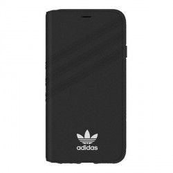 Adidas iPhone Xs / X OR Booklet Hülle / Case / Cover Tasche Suede Schwarz