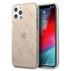 Guess iPhone 12 / 12 Pro 4G Glitter Hülle Case Cover Gold GUHCP12MPCU4GLGO