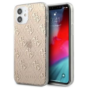 Guess iPhone 12 Mini 4G Glitter Hülle Case Cover Gold GUHCP12SPCU4GLGO