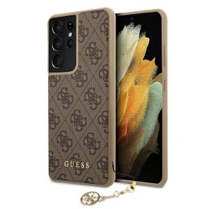 GUESS Samsung S21 Ultra Hülle / Cover / Case 4G Charms Braun GUHCS21LGF4GBR
