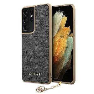 GUESS Samsung S21 Ultra Hülle Cover Case 4G Charms Grau GUHCS21LGF4GGR