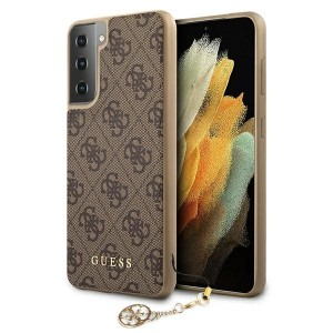 GUESS Samsung S21 Hülle Cover Case 4G Charms Braun GUHCS21SGF4GBR