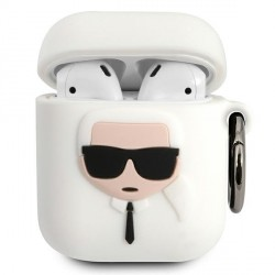 Karl Lagerfeld AirPods 1 / 2 Silicone Hülle Ikonik weiß KLACCSILKHWH