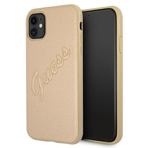Guess iPhone 11 Hülle Gold Saffiano Vintage GUHCN61RSAVSLG