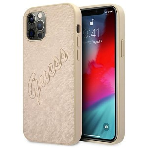 Guess iPhone 12 / 12 Pro Hülle Gold Saffiano Vintage GUHCP12MRSAVSLG