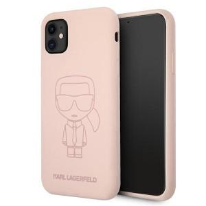 Karl Lagerfeld iPhone 11 Silicone Hülle Ikonik Outline Rose KLHCN61SILTTPI