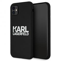 Karl Lagerfeld iPhone 11 Silicone Hülle Stack Logo schwarz KLHCN61SLKLRBK