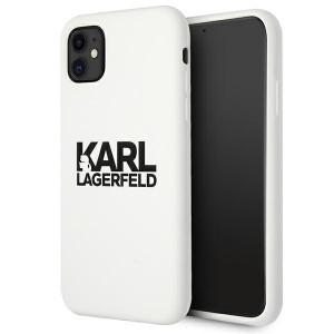 Karl Lagerfeld iPhone 11 Silicone Hülle Stack Logo weiß KLHCN61SLKLWH