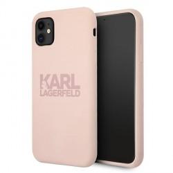 Karl Lagerfeld iPhone 11 Silicone Hülle Stack Logo Rose KLHCN61STKLTLP