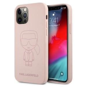 Karl Lagerfeld iPhone 12 / 12 Pro Silicone Hülle Ikonik Outline Rose KLHCP12MSILTTPI