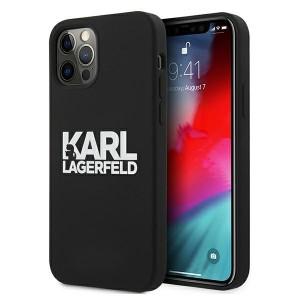 Karl Lagerfeld iPhone 12 / 12 Pro Silicone Hülle Stack Logo schwarz KLHCP12MSLKLRBK