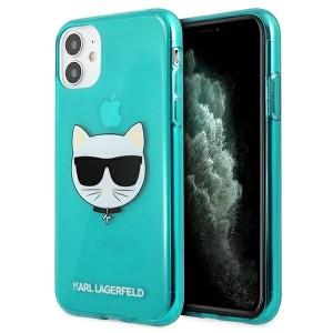 Karl Lagerfeld iPhone 11 Case Cover Hülle blau Choupette Fluo KLHCN61CHTRB