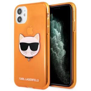 Karl Lagerfeld iPhone 11 Case Cover Hülle orange Choupette Fluo KLHCN61CHTRO