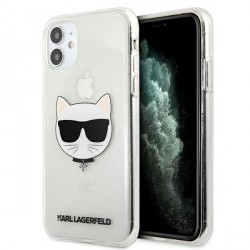 Karl Lagerfeld iPhone 11 Case Cover Hülle silber Choupette Fluo KLHCN61CHTUGLS
