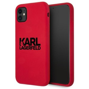 Karl Lagerfeld iPhone 11 Silikon Case Cover Hülle Stack Logo rot