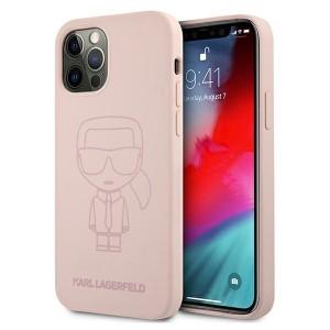 Karl Lagerfeld iPhone 12 Pro Max Silikon Hülle Ikonik Outline Rose