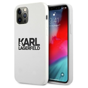Karl Lagerfeld iPhone 12 Pro Max Silikon Case Cover Hülle Stack Logo weiß