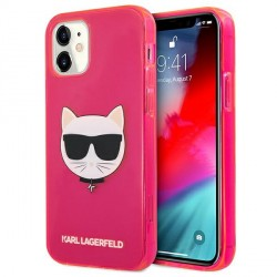 Karl Lagerfeld iPhone 12 mini Case Cover Hülle pink Choupette Fluo