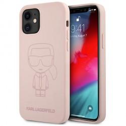 Karl Lagerfeld iPhone 12 mini Silikon Hülle Ikonik Outline Rose