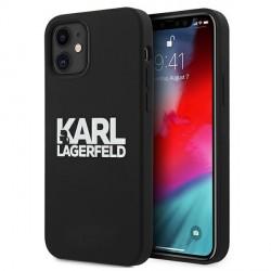 Karl Lagerfeld iPhone 12 Mini Silikon Case Cover Hülle Stack Logo schwarz