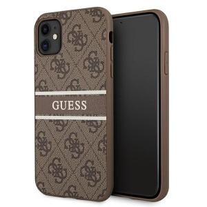 Guess iPhone 11 Case Cover Hülle 4G Stripe Braun