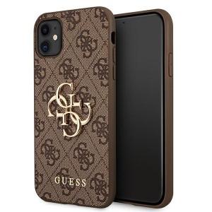 Guess iPhone 11 4G Big Metal Logo Case Cover Hülle Braun