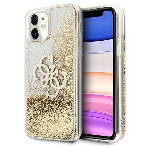Guess iPhone 11 case Cover Hülle Gold 4G Big Logo Liquid Glitter