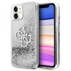 Guess iPhone 11 Hülle Case Cover Silber 4G Big Logo Liquid Glitter