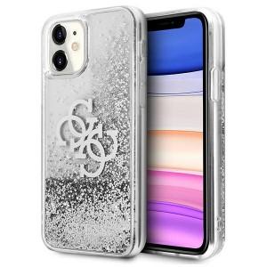 Guess iPhone 11 Case Cover Hülle Silber 4G Big Logo Liquid Glitter