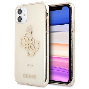 Guess iPhone 11 Glitter 4G Big Metal Logo Case Cover Hülle Gold