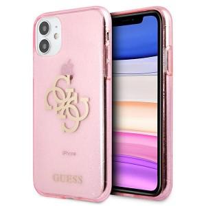 Guess iPhone 11 Glitter 4G Big Metal Logo Case Cover Hülle Rose