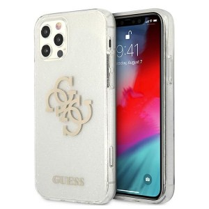 Guess iPhone 12 Pro Max Glitter 4G Big Metal Logo Case Cover Hülle Weiß