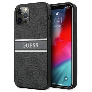 Guess iPhone 12 / 12 Pro Case Cover Hülle 4G Stripe Grau