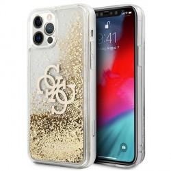 Guess iPhone 12 / 12 Pro Case Cover Hülle Gold 4G Big Logo Liquid Glitter