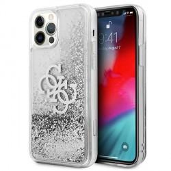 Guess iPhone 12 / 12 Pro Case Cover Hülle Silber 4G Big Logo Liquid Glitter