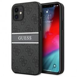 Guess iPhone 12 mini Case Cover Hülle 4G Stripe Grau