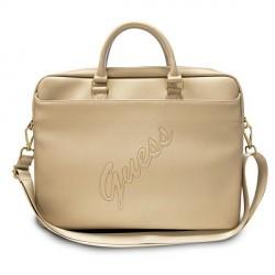 Guess Notebook Tasche / Laptoptasche 15 Zoll Saffiano Script Gold