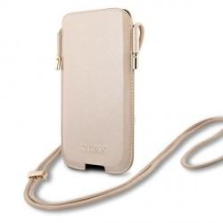 Guess iPhone 12 / 12 Pro Handytasche Saffiano Gold Schultergurt
