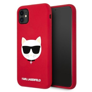 Karl Lagerfeld iPhone 11 Silikon Case Cover Hülle Choupette Rot