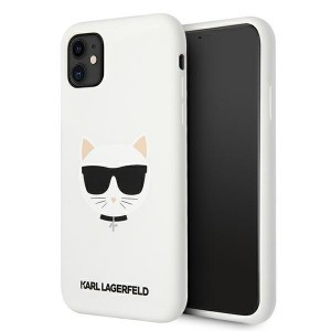 Karl Lagerfeld iPhone 11 Silikon Case Cover Hülle Choupette Weiß