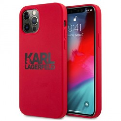 Karl Lagerfeld iPhone 12 Pro Max Silikon Case Cover Hülle Stack Logo Rot